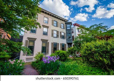 Gardens and row houses in Bolton Hill, Baltimore, Maryland.