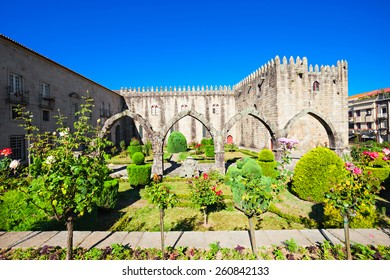 Gardens of Santa Barbara with castle of Braga, Portugal