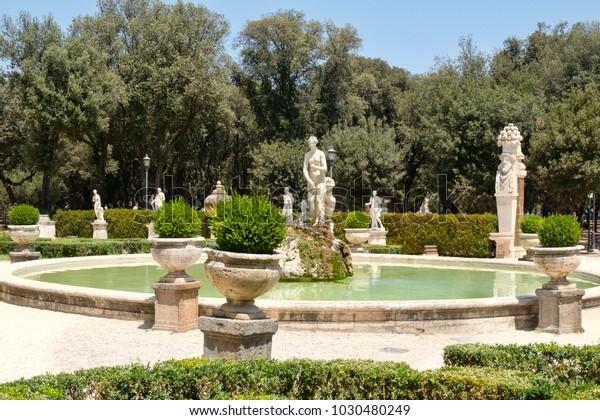 Historique Jardin Fontaine Ornementale D/'Intérieur Antique Vintage