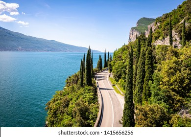 Gardesana Occidentale road near Tremosine. Brescia Province, Garda Lake, Lombardy, Italy.