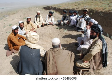 GARDEZ - AUGUST 26: Afghan tribal members, from Gardez, Paktia, participate in a jirga August 26, 2009 in Gardez, southeast Afghanistan to discuss pressing issues.