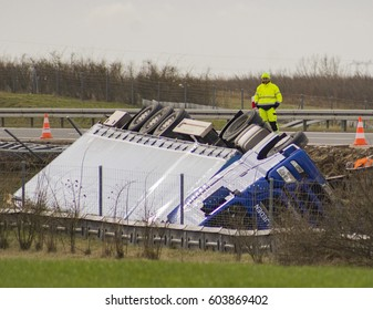 GARDNO, POLAND - 19 MARCH 2017: A view of an overturned truck on an expressway S3 in an accident.
