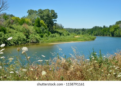 Gardon or Gard river at Remoulins in France, a commune in the Gard department in southern France.