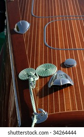 Gardone Riviera (Bs),lake of Garda,Lombardy,Italy,a Riva vintage speedboat meeting,particular of a speedboat