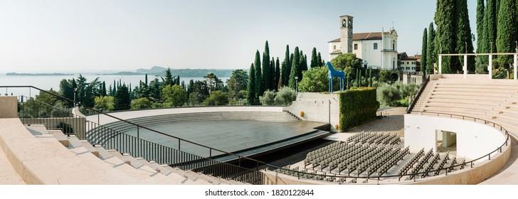 Gardone Riviera, Italy - September 12, 2020: Vittoriale degli Italiani outdoor amphitheater overlooking Lake Garda