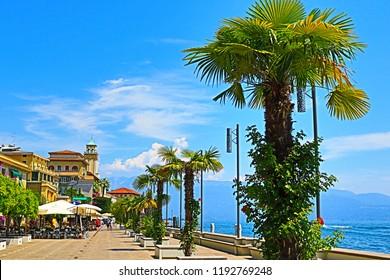 Gardone Riviera Lombardy Itly-July 19th 2018 Upscale hotels at beautiful lakeside street of Gardone Riviera town