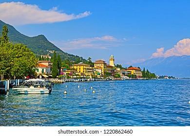 Gardone Riviera,Lombardy/Italy-July 19 2018:Beautiful view of Gradone Riviera summer resort on the western shore of Lake Garda