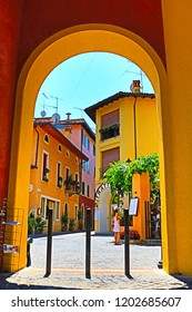 Gardone Riviera,Lombardy,Italy-July 19th 2018:Nice street in the historic town of Gardone Riviera town Nothern Italy