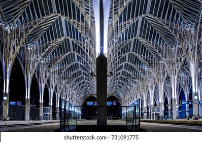 Gare do Oriente train station at night in Lisbon, Portugal