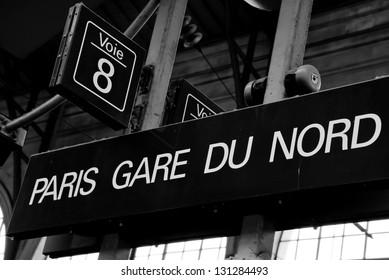 Gare du Nord train station sign in Paris, France.