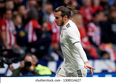 Gareth Bale of Real Madrid celebrates after scoring his sides first goal during the match between Atletico Madrid and Real Madrid at Wanda Metropolitno stadium on Febreary 09 2019, in Madrid, Spain .