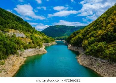 Garfagnana, Tuscany, Italy - Vagli di Sotto village on Lago di Vagli, Vagli lake