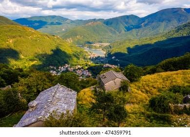 Garfagnana, Tuscany, Italy - Vagli di Sotto village on Lago di Vagli, Vagli lake view from Campacatino village