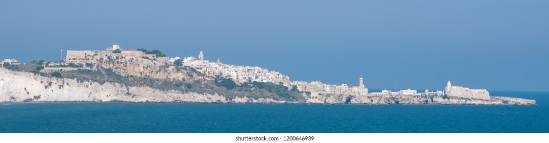 The Gargano Peninsula in Puglia, southern Italy, with the town of Vieste on the horizon. Photographed on a clear day in late summer.