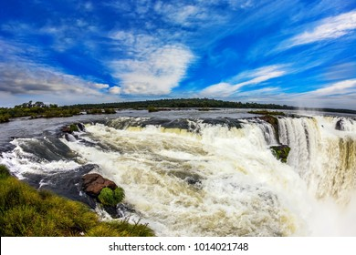 The Garganta del Diablo /Devil's throat/. The most full-flowing waterfall in the world on the Parana River. Concept of extreme and active tourism