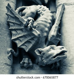 gargoyle in black and white on the cathedral of seville, Andalusia spain