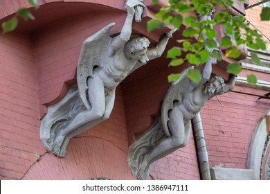 Gargoyle chimeras on the Castle of Baron Steingel. Kiev, Ukraine