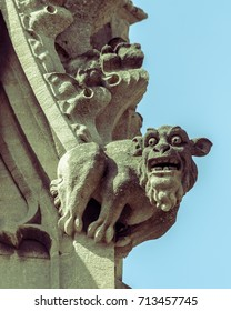Gargoyle G on St Mary Redcliffe Church Bristol, England, Shallow Depth of Field Split Toning Photography