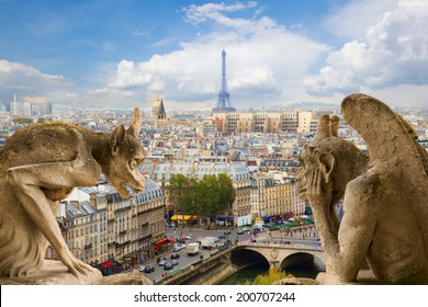 Gargoyle on Notre Dame Cathedral and city of  Paris, France