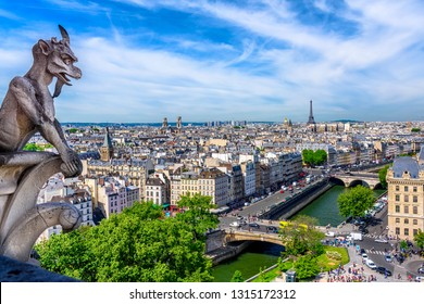 Gargoyle on Notre Dame de Paris on background of skyline of Paris, France. Cityscape of Paris. Architecture and landmarks of Paris.