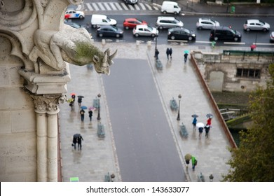 A gargoyle overlooking pedestrians walking in the rain in paris