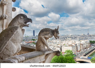 Gargoyle of Paris on Notre Dame Cathedral church and Paris cityscape with Eiffel Tower, France
