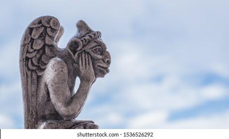 Gargoyle statue, chimeras on the Notre Dame de Paris