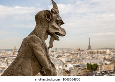 Gargoyles at the Notre Dame cathedral in Paris