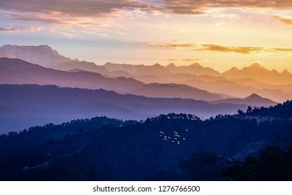 Garhwal Himalaya mountain range at sunrise as seen from Kausani Uttarakhand India