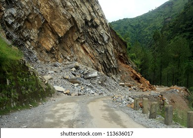 GARHWAL, INDIA - AUG 26 : Roads leading to Badrinath shrine are affected by landslides on August 26, 2012 in Garhwal, Uttrakhand, India. Landslides and rockfalls are often happening in this region.