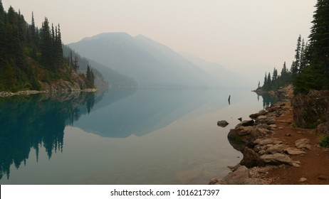 Garibaldi Lake covered by wildfire smoke, British Columbia, Canada