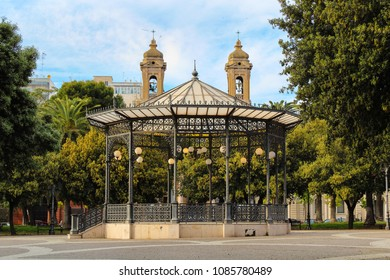 Garibaldi square with gazebo and St. Pasquale church on background. Taranto, Puglia, Italy