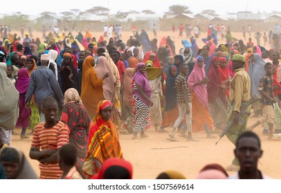 GARISSA, KENYA - AUGUST 13, 2019 - The Somali womens live in the Dadaab refugee camp where thousands of Somalis wait for help because of hunger. Selected focusing.