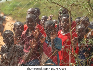 GARISSA, KENYA - AUGUST 13, 2019 - The Somali children live in Dadaab Refugee Camp. Hundreds of thousands of Somalis wait for help because of hunger.