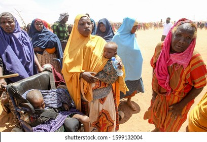 GARISSA, KENYA - AUGUST 13, 2019 - The Somali womens live in the Dadaab refugee camp where thousands of Somalis wait for help because of hunger.
