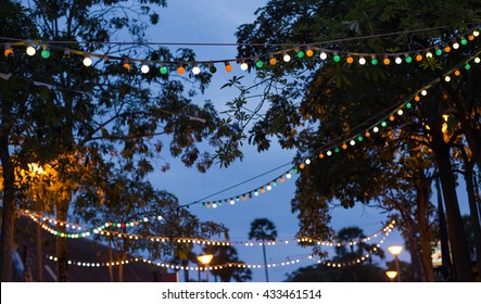 garland bulbs in the street