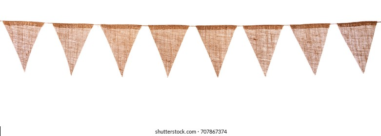 garland with burlap pennants, isolated in front of white