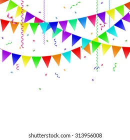 Garlands with flags, streamers and confetti. Stock image.
