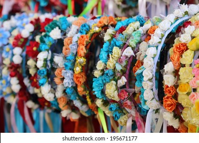 garlands of flowers decorated female