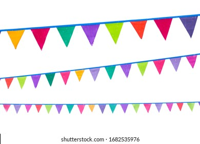 Garlands of old festive triangular multicolored flags on white background.