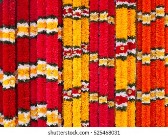 Garlands of red and yellow flowers, indian festive decoration.