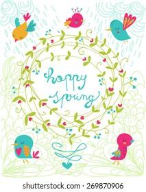 garland,wreath,green,nature,bird,little,spring,springtime,turquoise,blue,red,pink, orange,