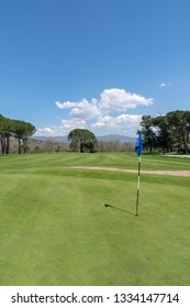 Garlenda, Italy - April 17, 2018: View of Garlenda golf course, situated in the Lerrone valley, which is one of the most beautiful valleys of the Ligurian hinterland, surrounded by ancient olive grove