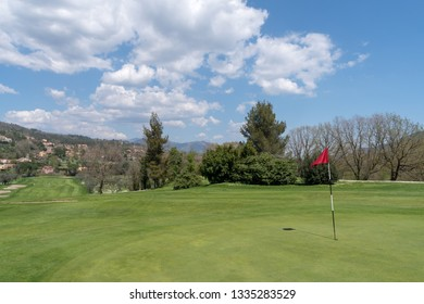 Garlenda, Italy - April 17, 2018: View of Garlenda golf course, situated in Lerrone valley of Ligurian hinterland, surrounded by ancient olive groves and pine forests