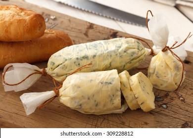 garlic bread compound butter herb baguette thyme rosemary coriander oregano fresh chopped homemade italian food snack tasty
