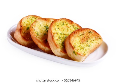Garlic bread in a plate on white background