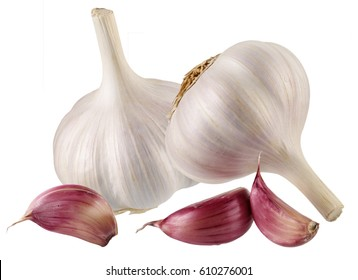 GARLIC BULB AND GARLIC CLOVES CUT OUT