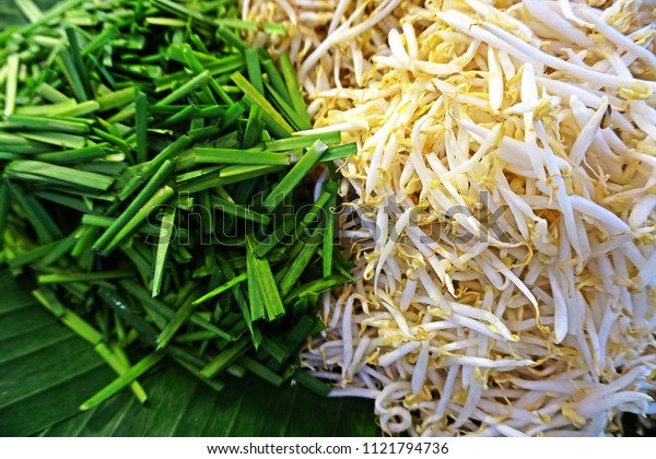Garlic chives belong to the chive family of onion, its leaves used as a vegetable.  Bean sprouts are the sprouting seed of mung beans. Both are used for cooking especially Pad Thai noodle.