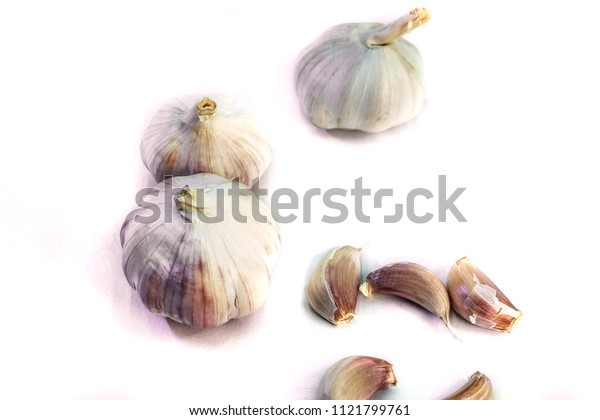 Garlic Cloves and Bulb on White background.Thai herbs and spices.Put in a variety of food, including Thai food, Indian food.The scientific name is Allium sativum Linn.