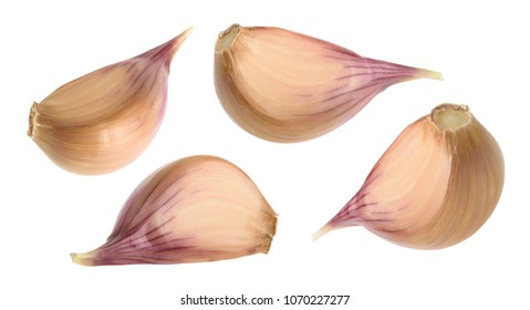 Garlic cloves isolated on white background. set